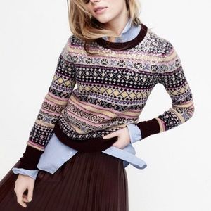 J. Crew Sequin Fair Isle sweater womens size small
